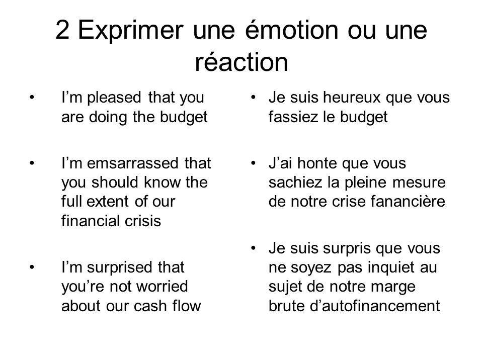 2 Exprimer une émotion ou une réaction Im pleased that you are doing the budget Im emsarrassed that you should know the full extent of our financial c