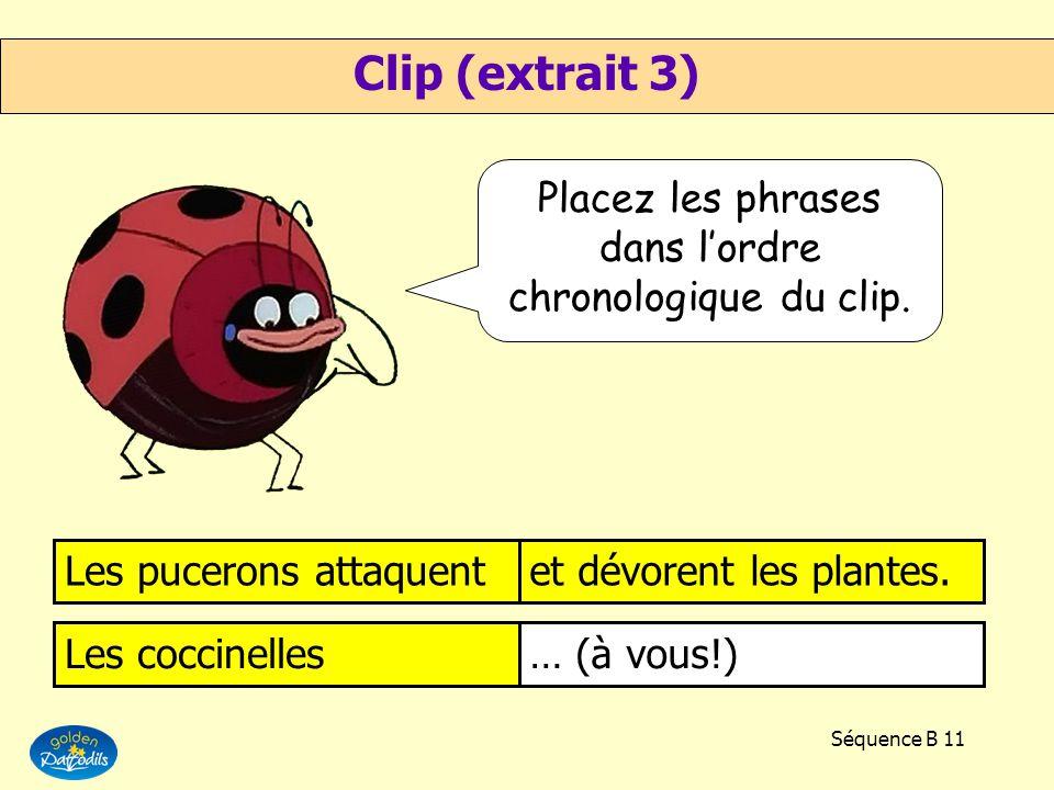 Séquence B 10 Certains pucerons résistentaux insecticides. Gaston critiquela méthode de Coline. Les puceronssont paniqués. Zina explique limportancede