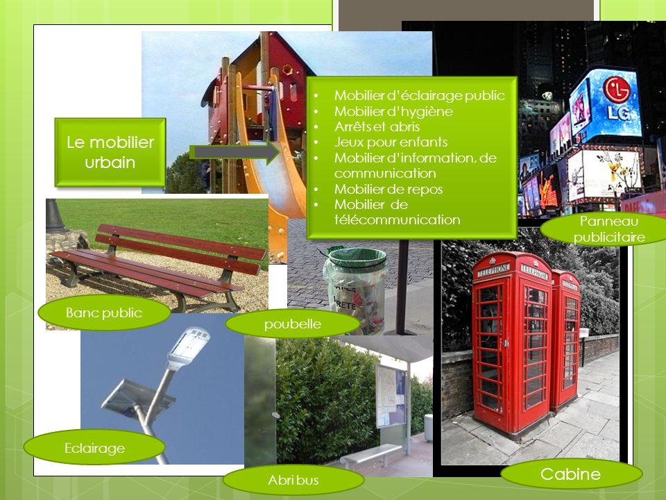 Le mobilier urbain Mobilier déclairage public Mobilier dhygiène Arrêts et abris Jeux pour enfants Mobilier dinformation, de communication Mobilier de