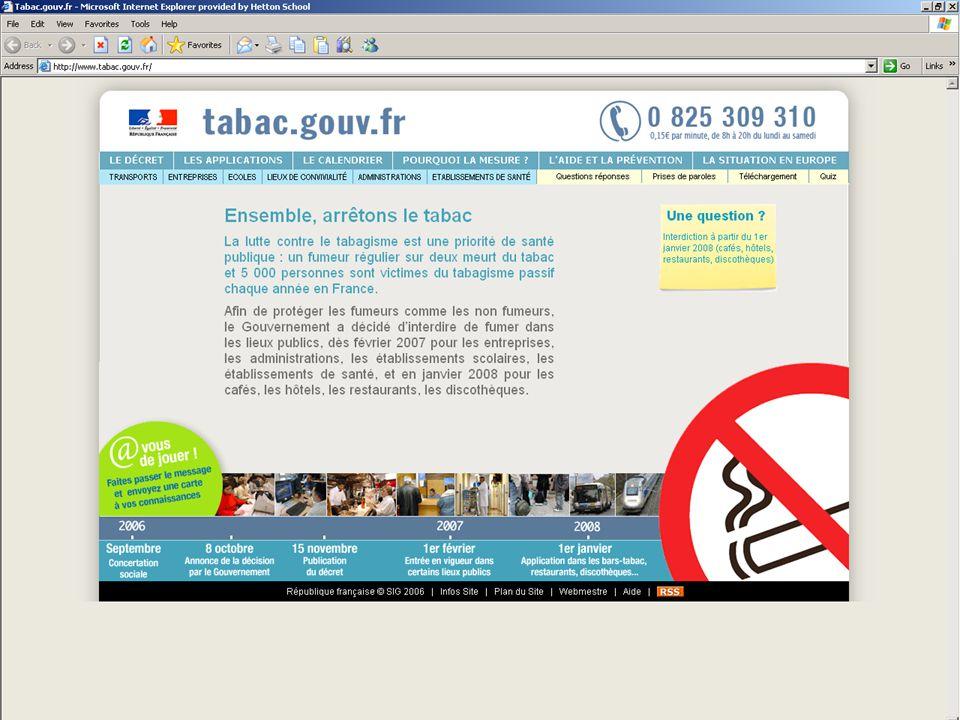 Ensemble, arrêtons le tabac La lutte contre le tabagisme est une priorité de santé publique : un fumeur régulier sur deux meurt du tabac et 5 000 personnes sont victimes du tabagisme passif chaque année en France.