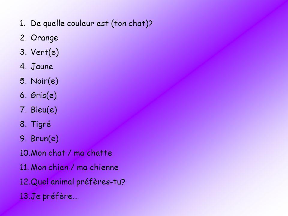 1.De quelle couleur est (ton chat)? 2.Orange 3.Vert(e) 4.Jaune 5.Noir(e) 6.Gris(e) 7.Bleu(e) 8.Tigré 9.Brun(e) 10.Mon chat / ma chatte 11.Mon chien /