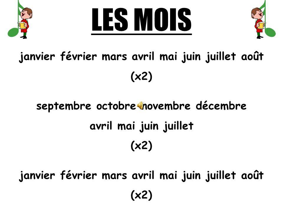 janvier février mars avril mai juin juillet août septembre octobre novembre décembre MONTHS OF THE YEAR