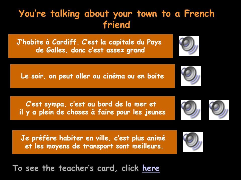 Teachers card To see the pupils card, click herehere Parle moi un peu de ta ville Quest-ce quil y à faire le soir.