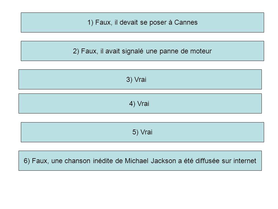 1) Faux, il devait se poser à Cannes 2) Faux, il avait signalé une panne de moteur 3) Vrai 5) Vrai 6) Faux, une chanson inédite de Michael Jackson a é