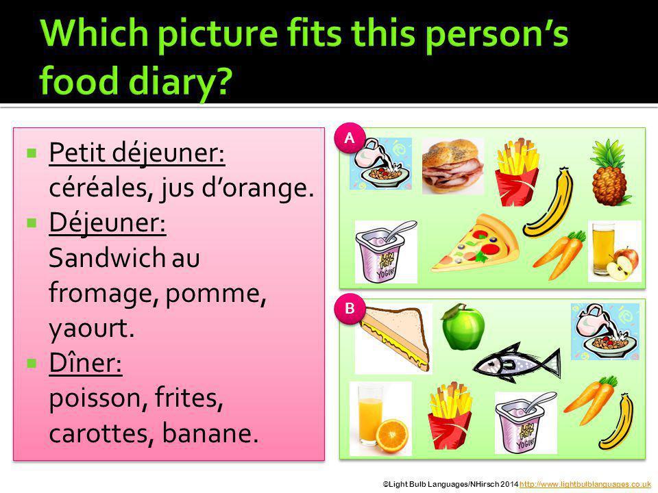 Petit déjeuner: céréales, jus dorange.Déjeuner: Sandwich au fromage, pomme, yaourt.