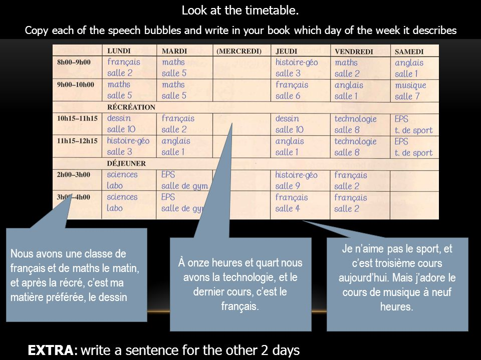 Look at the timetable. Copy each of the speech bubbles and write in your book which day of the week it describes EXTRA: write a sentence for the other