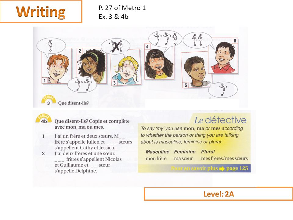 Assess your partner: LEVEL 1 - student uses one word answers LEVEL 2 – student responds using full sentences LEVEL 3 – student uses full sentences and used the phrase jaime or je naime pas which expresses an opinion 1.