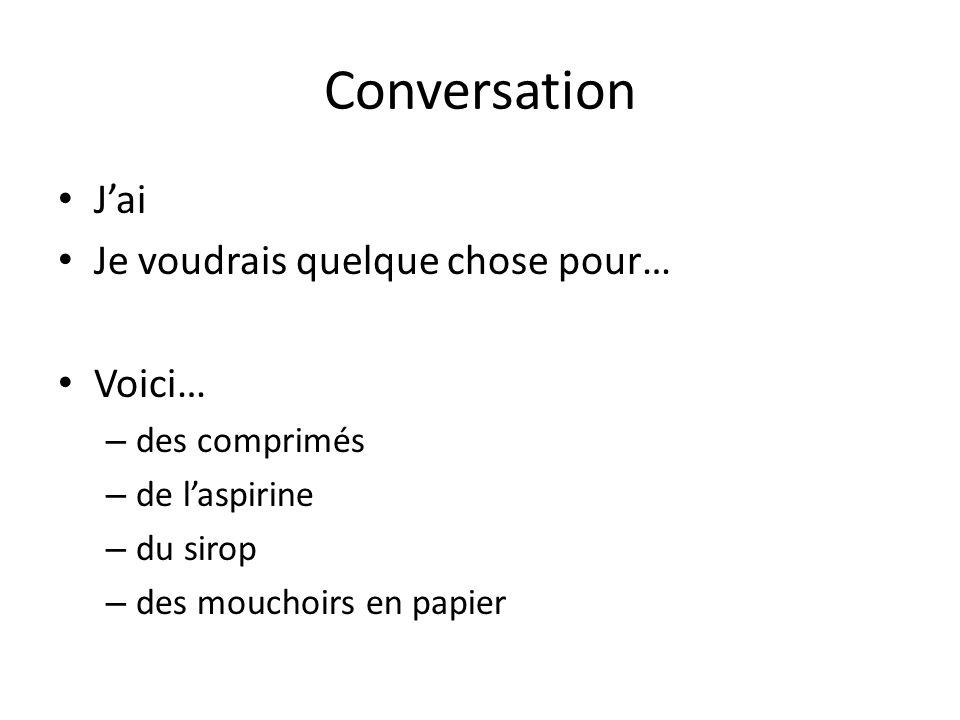 Conversation Jai Je voudrais quelque chose pour… Voici… – des comprimés – de laspirine – du sirop – des mouchoirs en papier