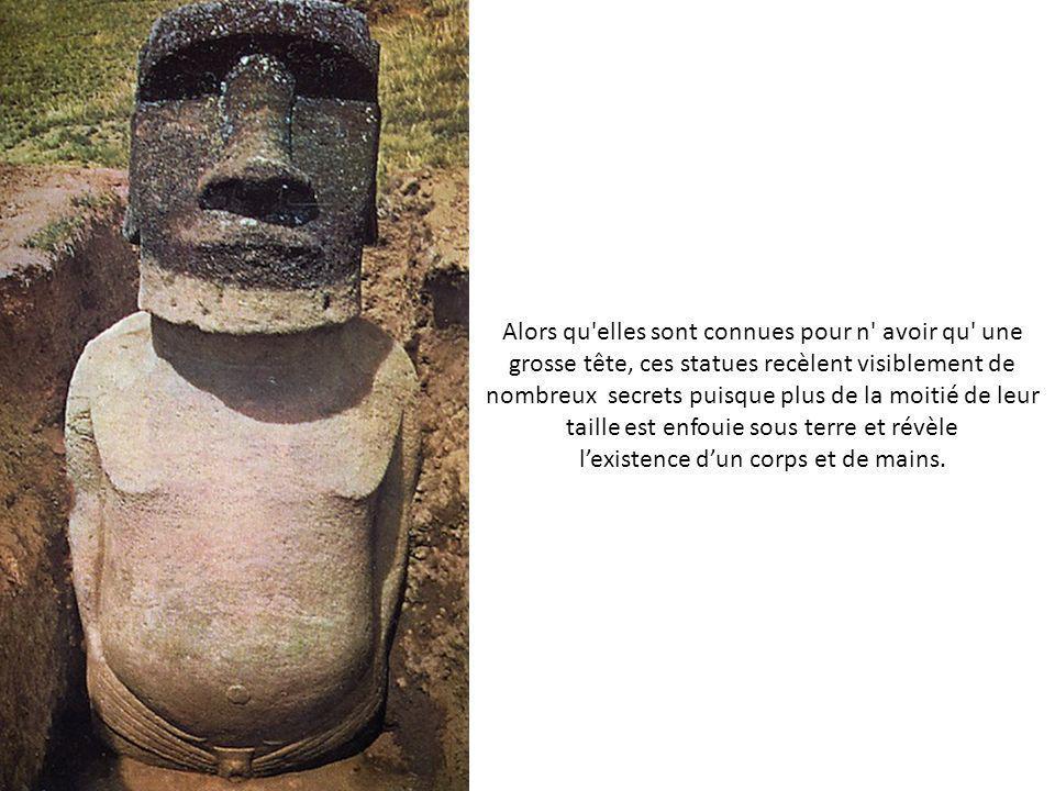 Alors qu elles sont connues pour n avoir qu une grosse tête, ces statues recèlent visiblement de nombreux secrets puisque plus de la moitié de leur taille est enfouie sous terre et révèle lexistence dun corps et de mains.