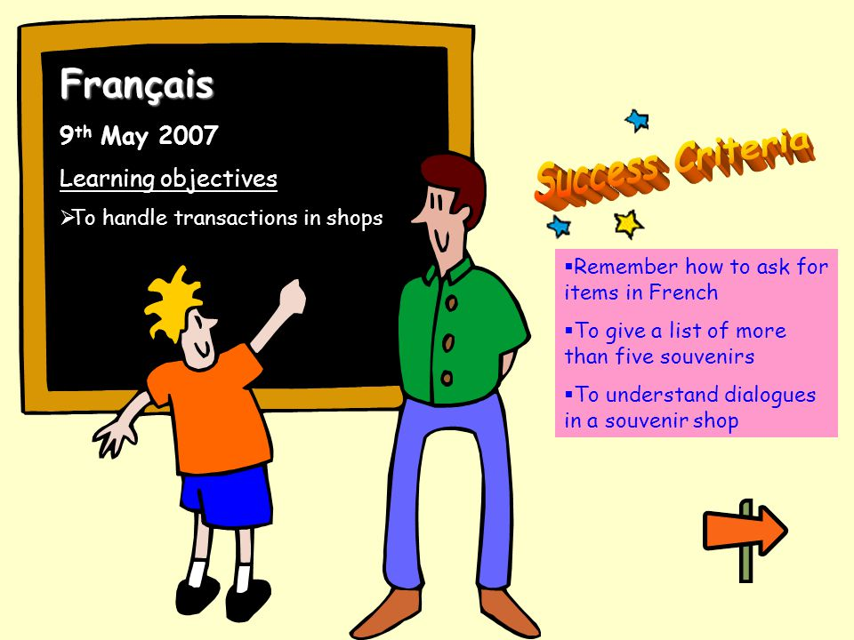 Français 9 th May 2007 Learning objectives To handle transactions in shops Remember how to ask for items in French To give a list of more than five souvenirs To understand dialogues in a souvenir shop