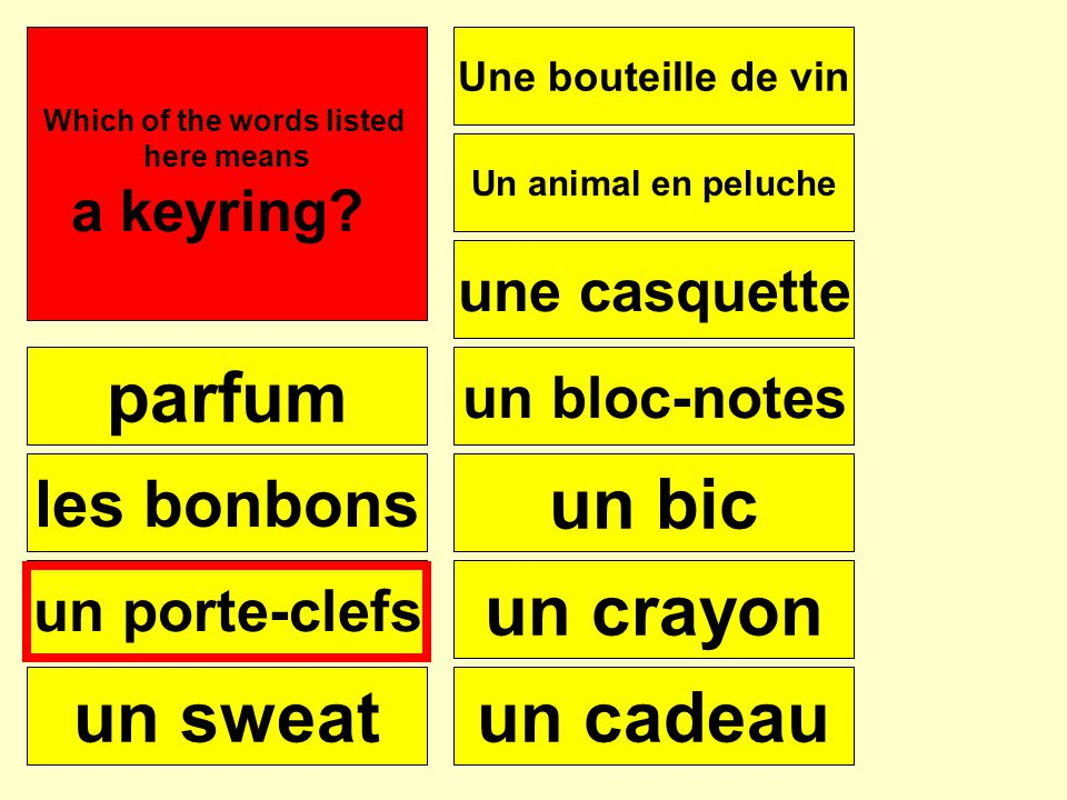 parfum les bonbons un porte-clefs un sweat Une bouteille de vin une casquette Un animal en peluche un bloc-notes un bic un crayon un cadeau Se puede Which of the words listed here means a keyring