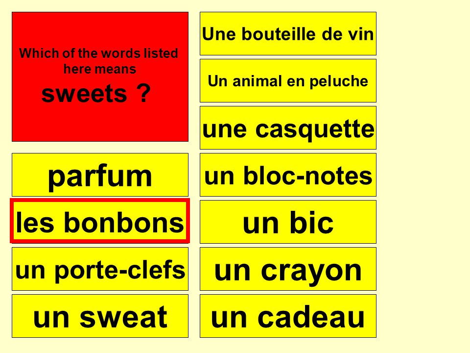 parfum les bonbons un porte-clefs un sweat Une bouteille de vin une casquette Un animal en peluche un bloc-notes un bic un crayon un cadeau Se puede Which of the words listed here means sweets