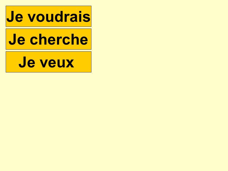 How would you say …..? e.g. I would like a pen Je voudrais un bic Je cherche Je veux