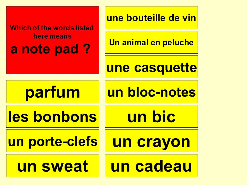 parfum les bonbons un porte-clefs un sweat une bouteille de vin une casquette Un animal en peluche un bloc-notes un bic un crayon un cadeau Se puede Which of the words listed here means a jumper