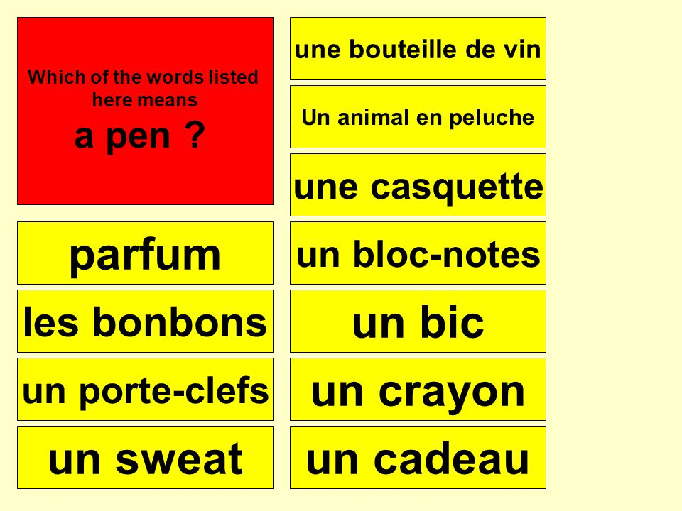 parfum les bonbons un porte-clefs un sweat une bouteille de vin une casquette Un animal en peluche un bloc-notes un bic un crayon un cadeau Se puede Which of the words listed here means perfume