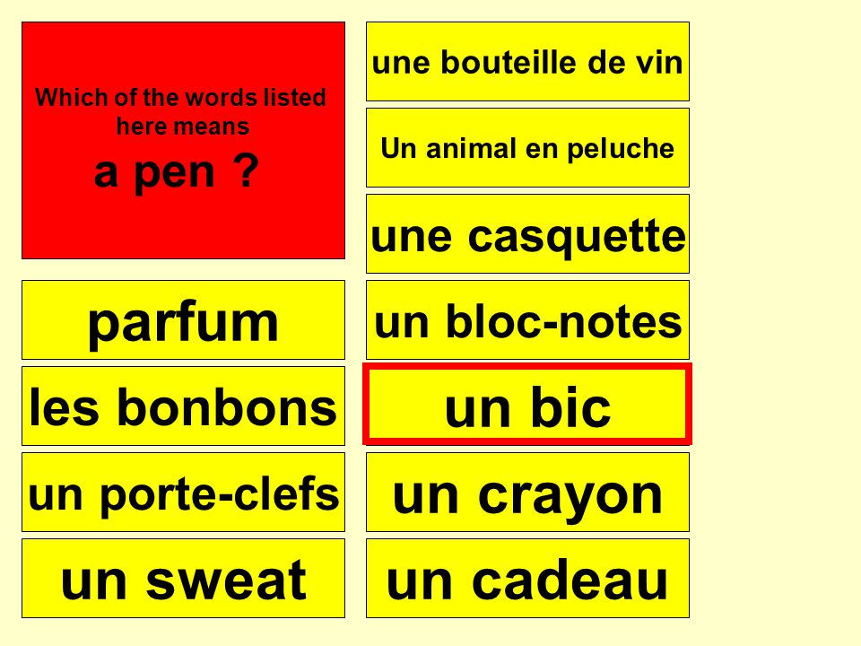 How would you say …..? e.g. Im looking for a pen Je voudrais Je cherche Je veux
