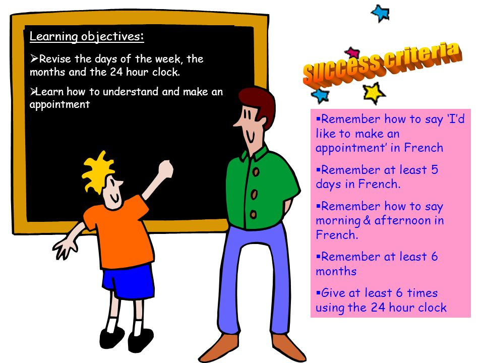 Learning objectives : Revise the days of the week, the months and the 24 hour clock.