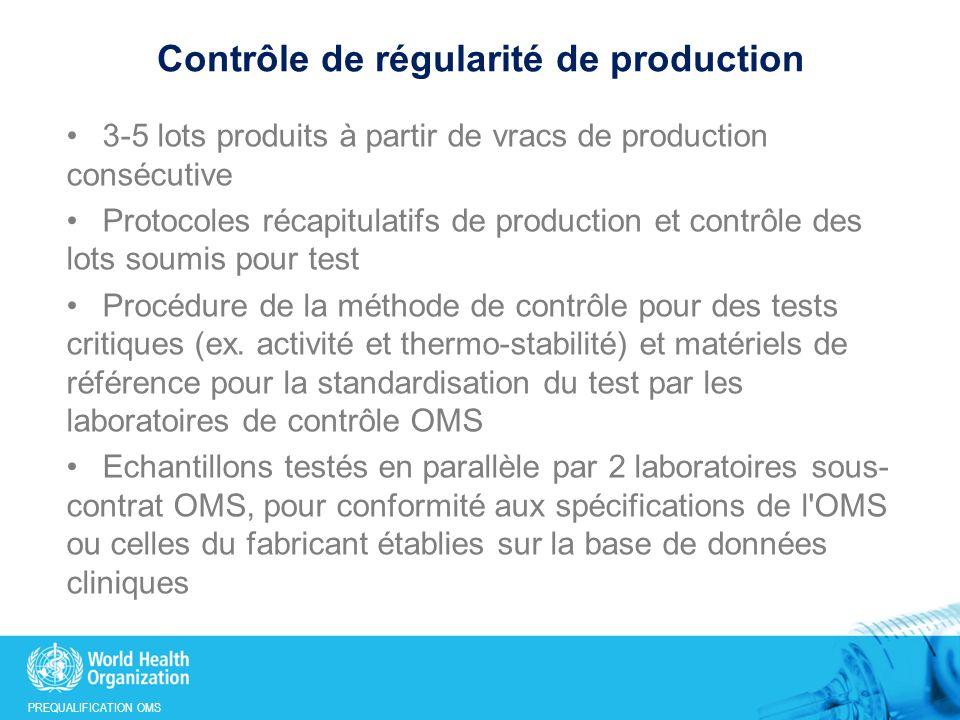 PREQUALIFICATION OMS Contrôle de régularité de production 3-5 lots produits à partir de vracs de production consécutive Protocoles récapitulatifs de production et contrôle des lots soumis pour test Procédure de la méthode de contrôle pour des tests critiques (ex.