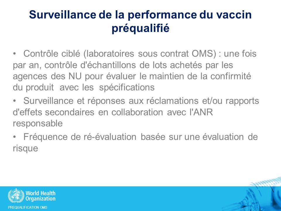 PREQUALIFICATION OMS Surveillance de la performance du vaccin préqualifié Contrôle ciblé (laboratoires sous contrat OMS) : une fois par an, contrôle d échantillons de lots achetés par les agences des NU pour évaluer le maintien de la confirmité du produit avec les spécifications Surveillance et réponses aux réclamations et/ou rapports d effets secondaires en collaboration avec l ANR responsable Fréquence de ré-évaluation basée sur une évaluation de risque