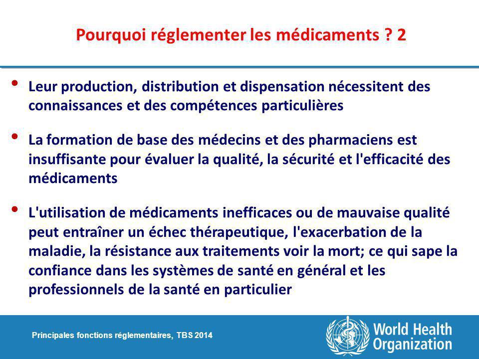 Principales fonctions réglementaires, TBS 2014 Pourquoi réglementer les médicaments .