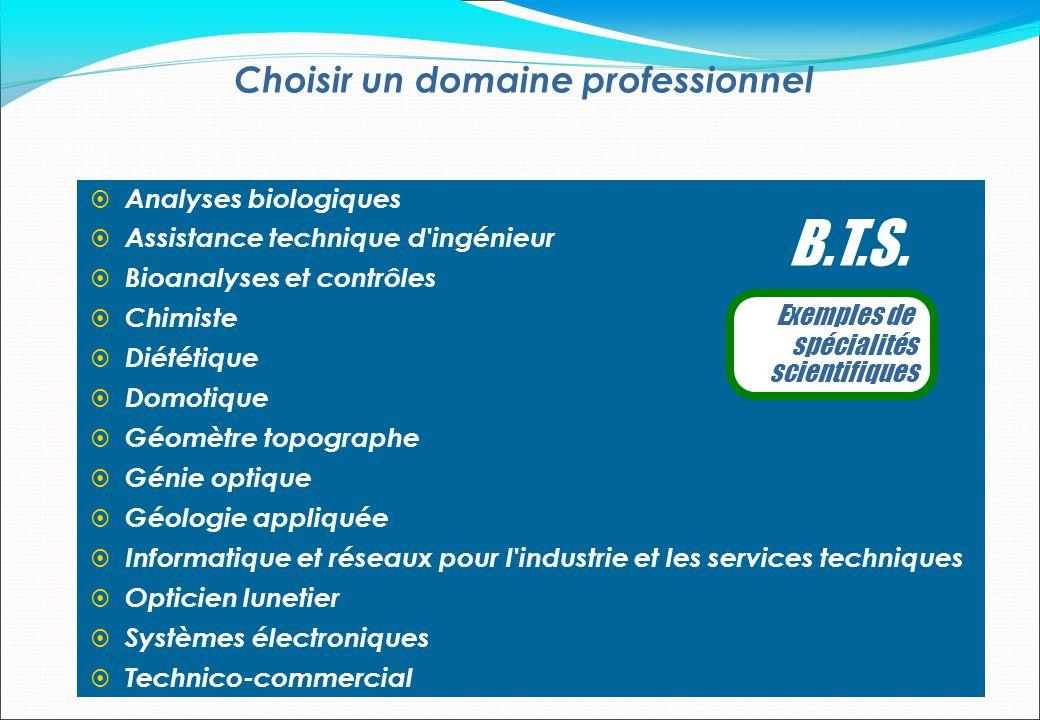Choisir un domaine professionnel Analyses biologiques Assistance technique d'ingénieur Bioanalyses et contrôles Chimiste Diététique Domotique Géomètre