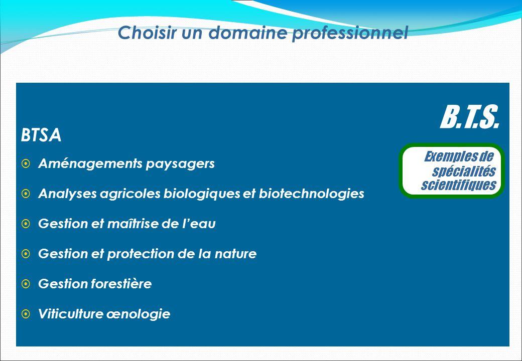 Choisir un domaine professionnel B.T.S. Exemples de spécialités scientifiques BTSA Aménagements paysagers Analyses agricoles biologiques et biotechnol