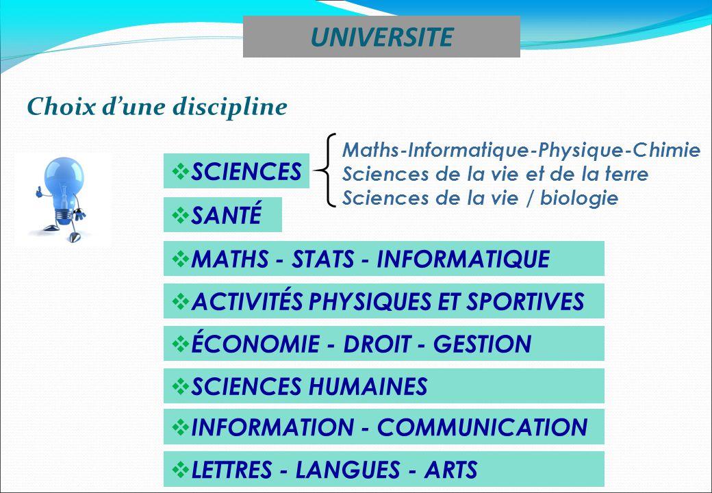SCIENCES SANTÉ Maths-Informatique-Physique-Chimie Sciences de la vie et de la terre Sciences de la vie / biologie MATHS - STATS - INFORMATIQUE ACTIVIT
