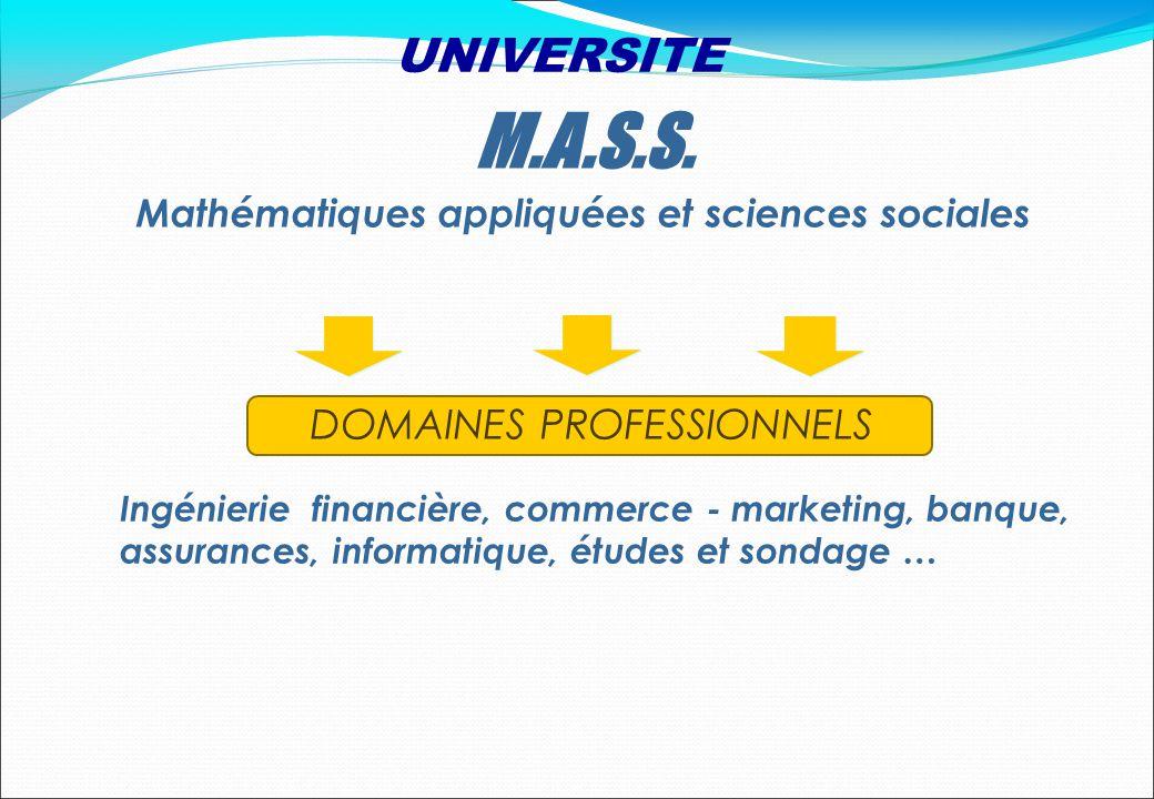 DOMAINES PROFESSIONNELS Ingénierie financière, commerce - marketing, banque, assurances, informatique, études et sondage … M.A.S.S. Mathématiques appl