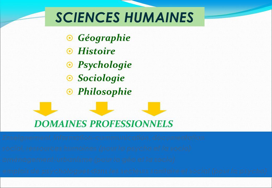 DOMAINES PROFESSIONNELS Géographie Histoire Psychologie Sociologie Philosophie SCIENCES HUMAINES Enseignement, information-communication, documentatio