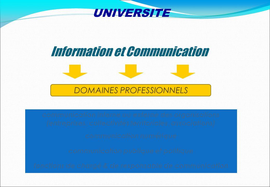 DOMAINES PROFESSIONNELS Information et Communication communication interne ou externe des organisations (entreprises, collectivités territoriales, ass