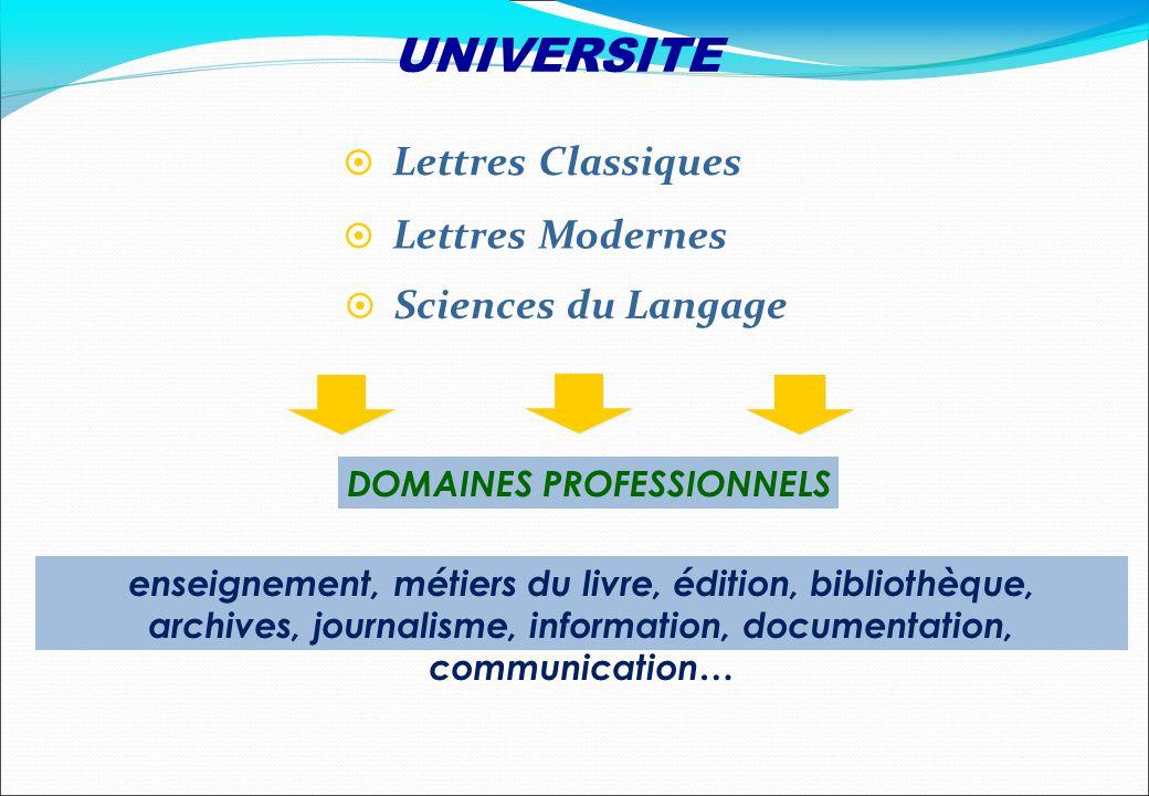DOMAINES PROFESSIONNELS Lettres Classiques Sciences du Langage Lettres Modernes enseignement, métiers du livre, édition, bibliothèque, archives, journ