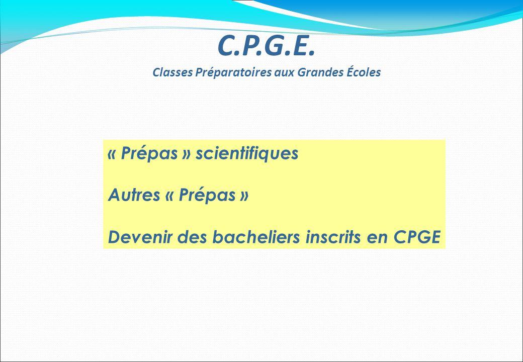 « Prépas » scientifiques Autres « Prépas » Devenir des bacheliers inscrits en CPGE C.P.G.E. Classes Préparatoires aux Grandes Écoles