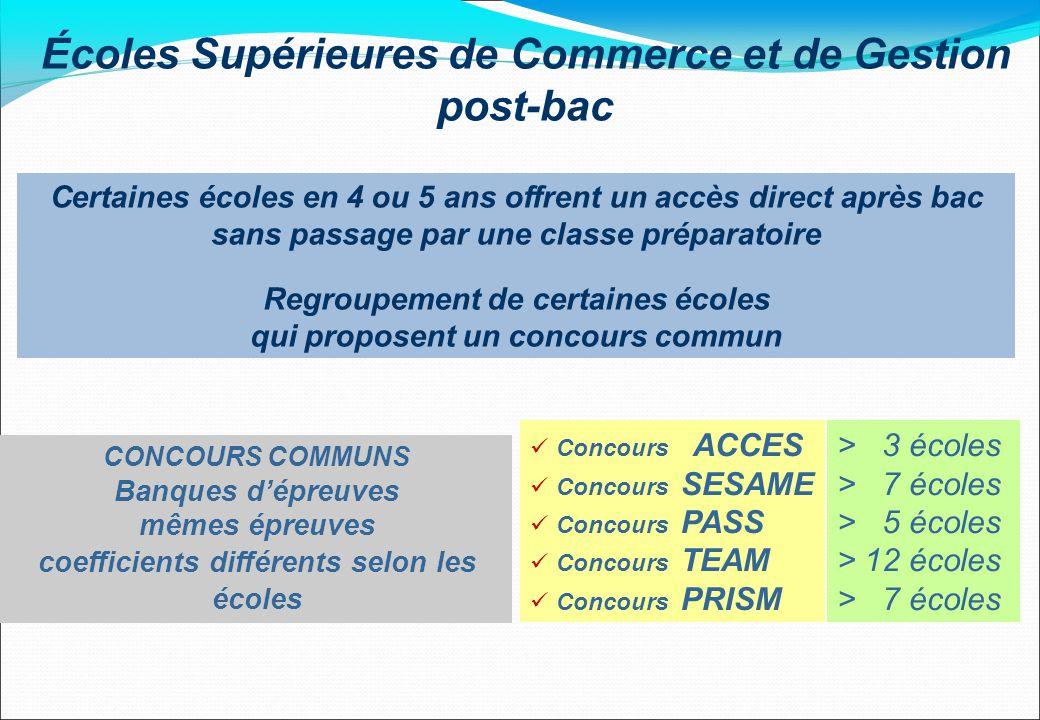 Écoles Supérieures de Commerce et de Gestion post-bac Certaines écoles en 4 ou 5 ans offrent un accès direct après bac sans passage par une classe pré