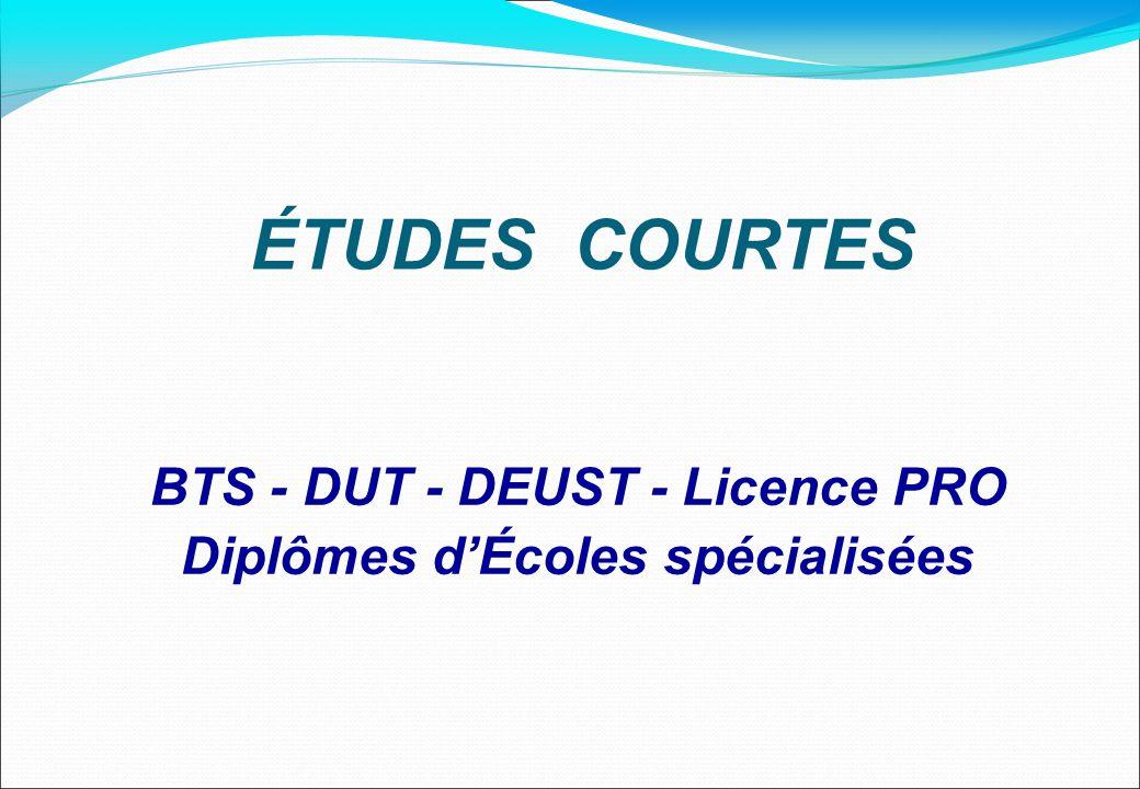 BTS - DUT - DEUST - Licence PRO Diplômes dÉcoles spécialisées ÉTUDES COURTES