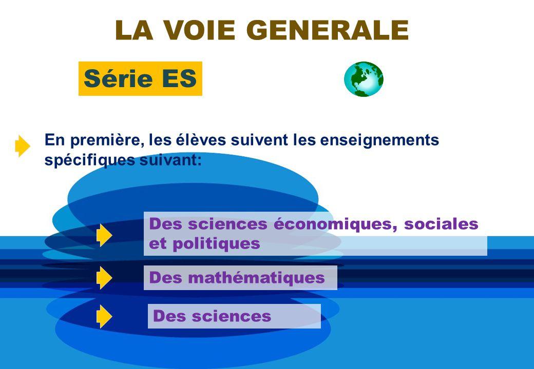 Série ES En première, les élèves suivent les enseignements spécifiques suivant: Des sciences économiques, sociales et politiques Des mathématiques LA VOIE GENERALE Des sciences