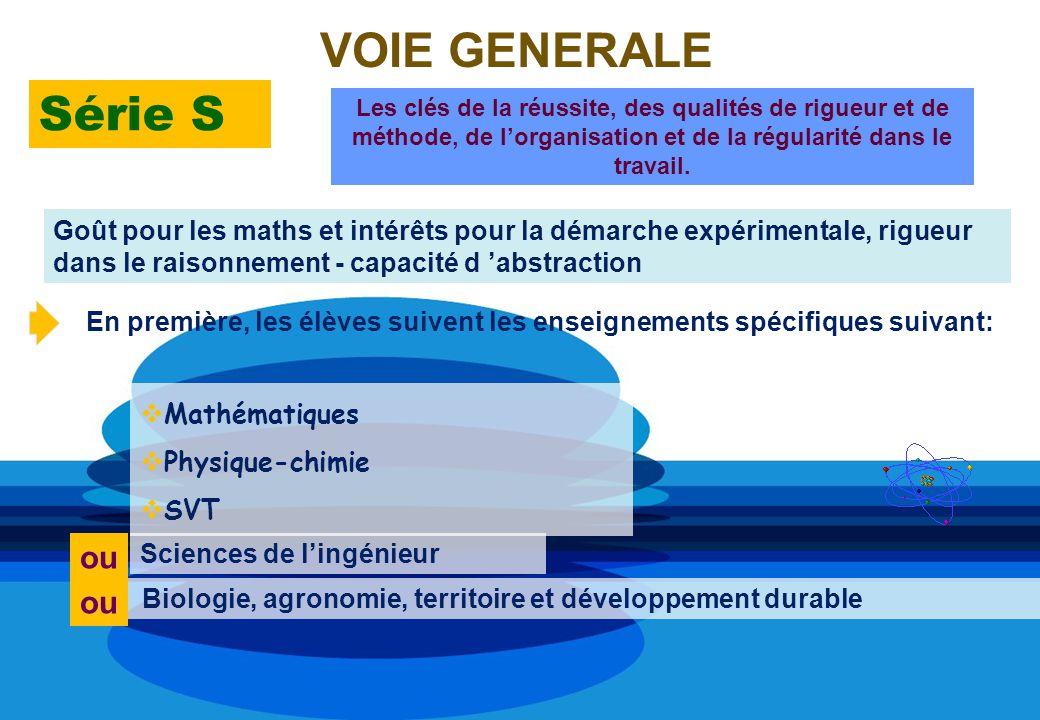 VOIE GENERALE Série S Sciences de lingénieur Biologie, agronomie, territoire et développement durable ou Les clés de la réussite, des qualités de rigu