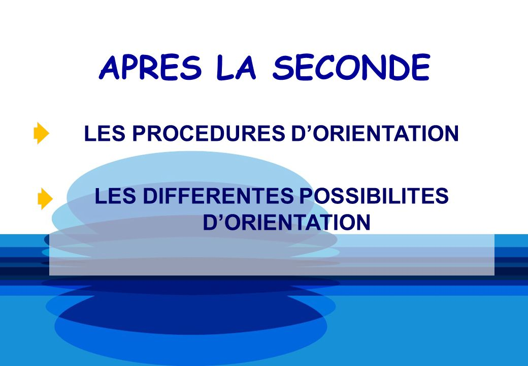 APRES LA SECONDE LES PROCEDURES DORIENTATION LES DIFFERENTES POSSIBILITES DORIENTATION