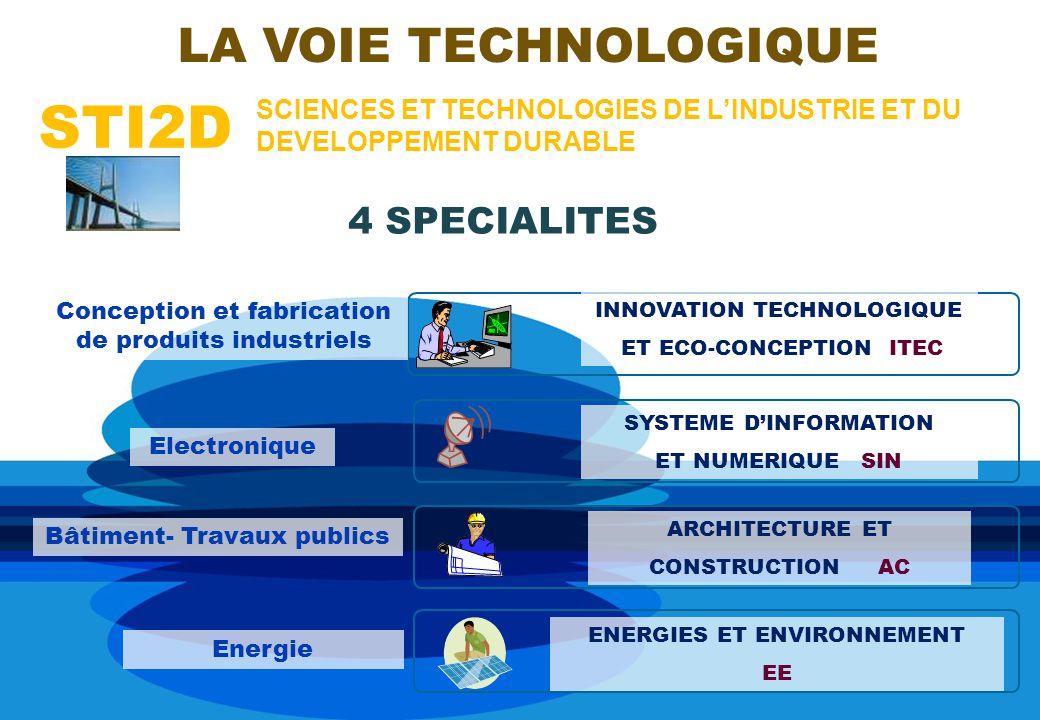 STI2D SCIENCES ET TECHNOLOGIES DE LINDUSTRIE ET DU DEVELOPPEMENT DURABLE LA VOIE TECHNOLOGIQUE INNOVATION TECHNOLOGIQUE ET ECO-CONCEPTION ITEC Conception et fabrication de produits industriels 4 SPECIALITES SYSTEME DINFORMATION ET NUMERIQUE SIN ENERGIES ET ENVIRONNEMENT EE ARCHITECTURE ET CONSTRUCTION AC Electronique Bâtiment- Travaux publics Energie
