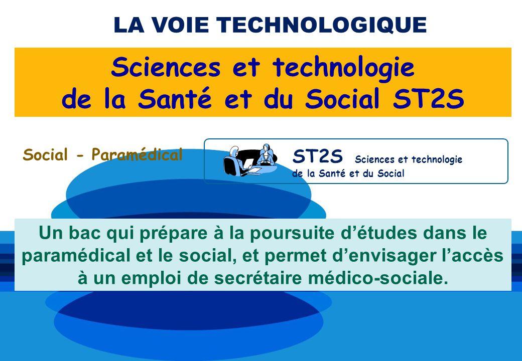 Social - Paramédical ST2S Sciences et technologie de la Santé et du Social LA VOIE TECHNOLOGIQUE Sciences et technologie de la Santé et du Social ST2S Un bac qui prépare à la poursuite détudes dans le paramédical et le social, et permet denvisager laccès à un emploi de secrétaire médico-sociale.