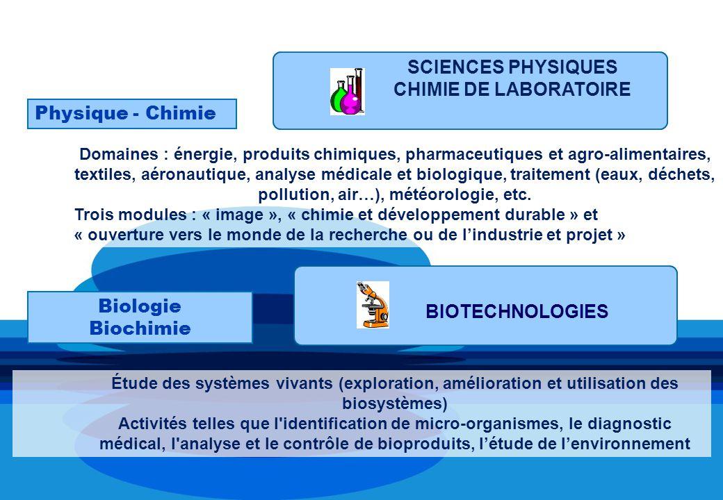 1 Enseignement spécifique selon la spécialité choisie SCIENCES PHYSIQUES CHIMIE DE LABORATOIRE Physique - Chimie BIOTECHNOLOGIES Biologie Biochimie Étude des systèmes vivants (exploration, amélioration et utilisation des biosystèmes) Activités telles que l identification de micro-organismes, le diagnostic médical, l analyse et le contrôle de bioproduits, létude de lenvironnement Domaines : énergie, produits chimiques, pharmaceutiques et agro-alimentaires, textiles, aéronautique, analyse médicale et biologique, traitement (eaux, déchets, pollution, air…), météorologie, etc.