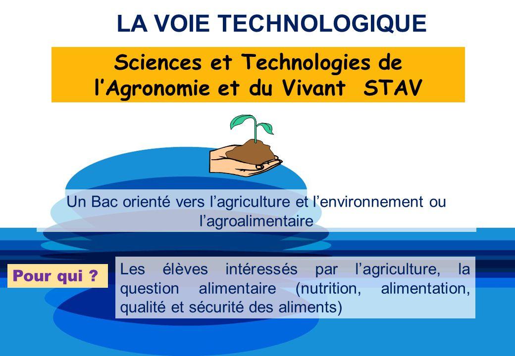 Un Bac orienté vers lagriculture et lenvironnement ou lagroalimentaire Pour qui ? Les élèves intéressés par lagriculture, la question alimentaire (nut