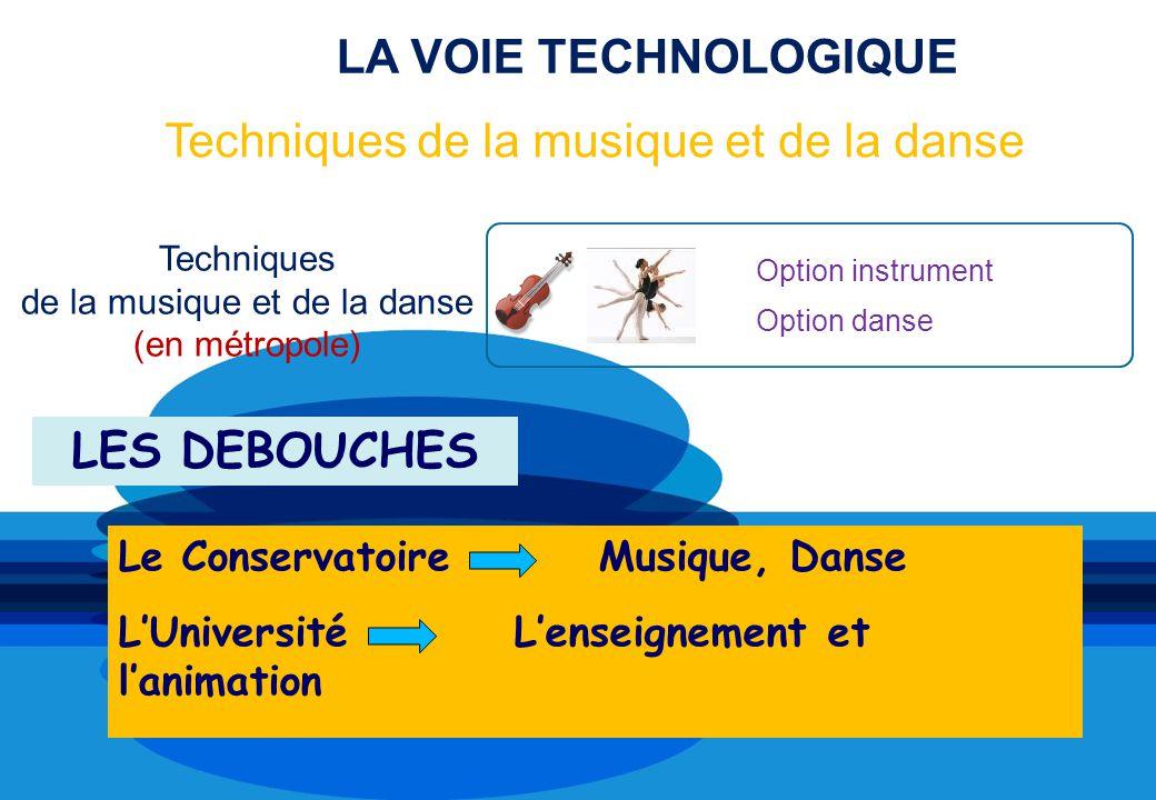 LA VOIE TECHNOLOGIQUE Option instrument Option danse Techniques de la musique et de la danse (en métropole) Techniques de la musique et de la danse LES DEBOUCHES Le Conservatoire Musique, Danse LUniversité Lenseignement et lanimation