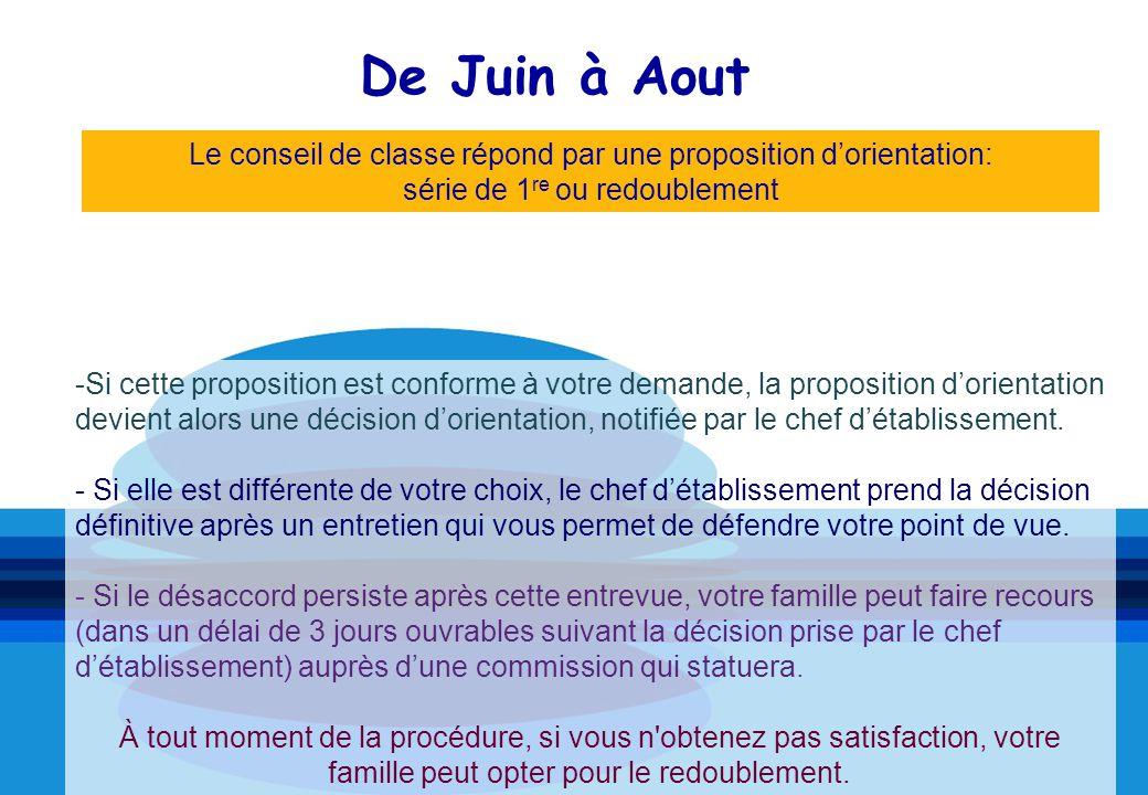 De Juin à Aout -Si cette proposition est conforme à votre demande, la proposition dorientation devient alors une décision dorientation, notifiée par le chef détablissement.