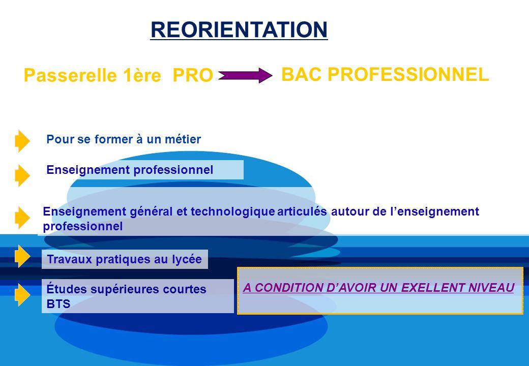 Passerelle 1ère PRO Pour se former à un métier Enseignement professionnel Enseignement général et technologique articulés autour de lenseignement prof