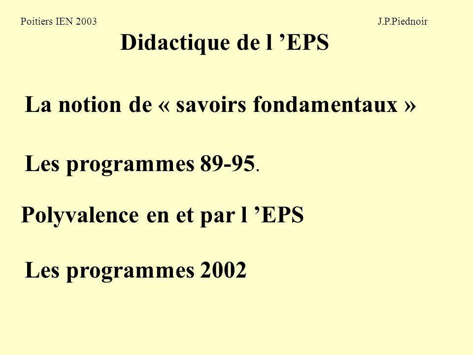 Poitiers IEN 2003 J.P.Piednoir Didactique de l EPS La notion de « savoirs fondamentaux » Polyvalence en et par l EPS Les programmes 2002 Les programmes 89-95.