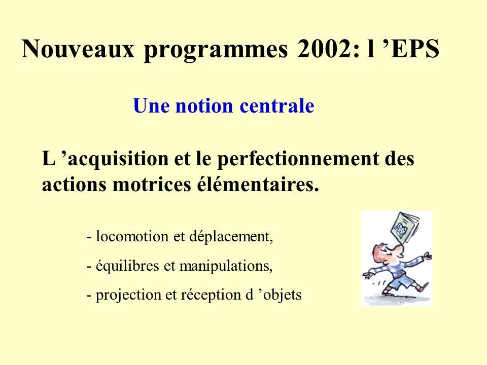 Nouveaux programmes 2002: l EPS Une notion centrale L acquisition et le perfectionnement des actions motrices élémentaires. - locomotion et déplacemen