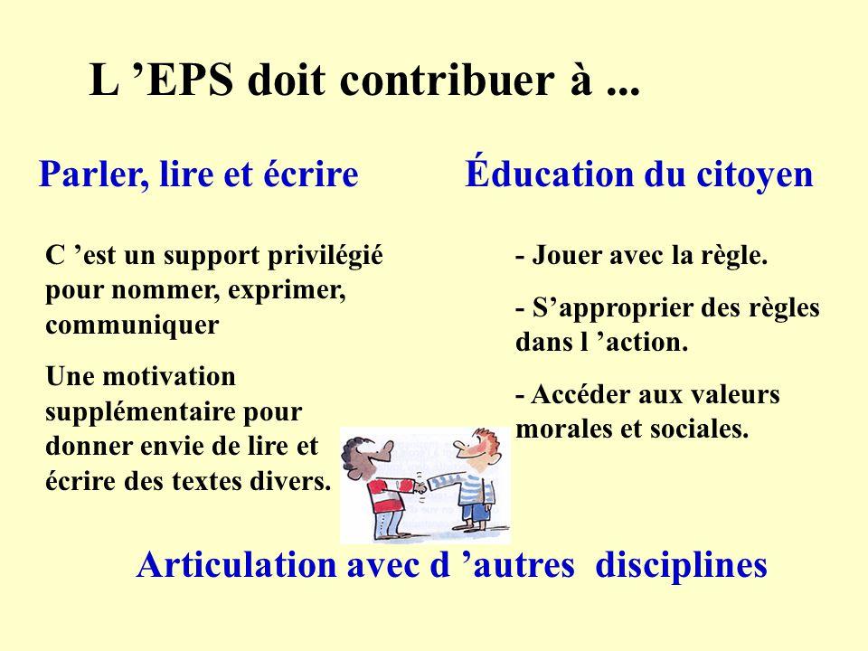 L EPS doit contribuer à... Parler, lire et écrire C est un support privilégié pour nommer, exprimer, communiquer Une motivation supplémentaire pour do