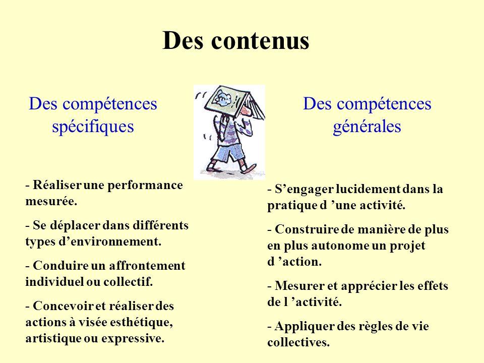 Des contenus Des compétences spécifiques Des compétences générales - Réaliser une performance mesurée. - Se déplacer dans différents types denvironnem