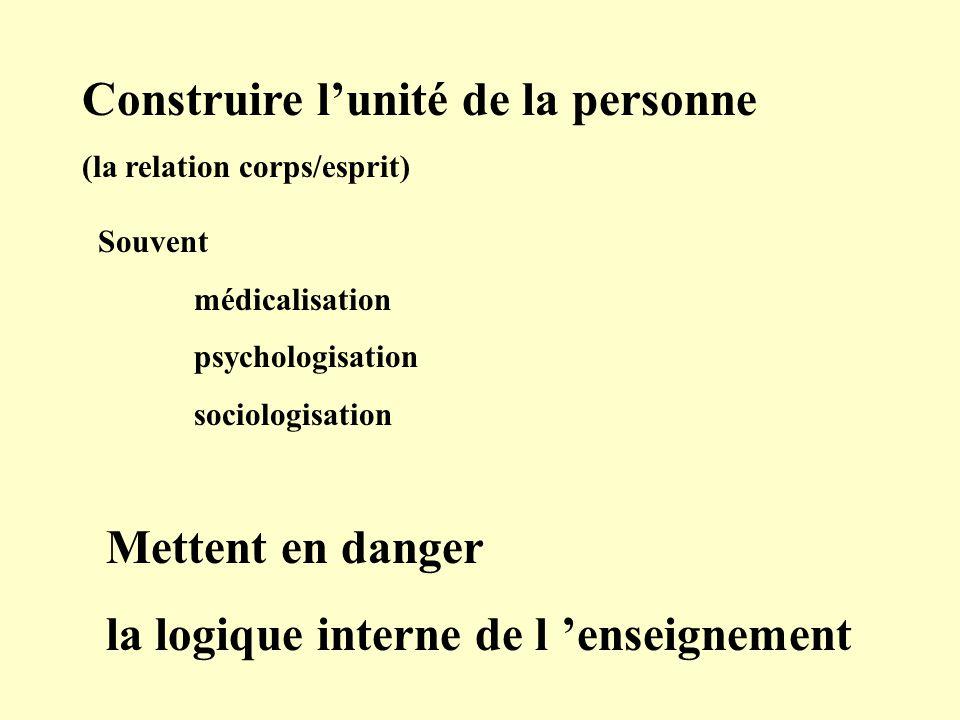 Construire lunité de la personne (la relation corps/esprit) Souvent médicalisation psychologisation sociologisation Mettent en danger la logique interne de l enseignement