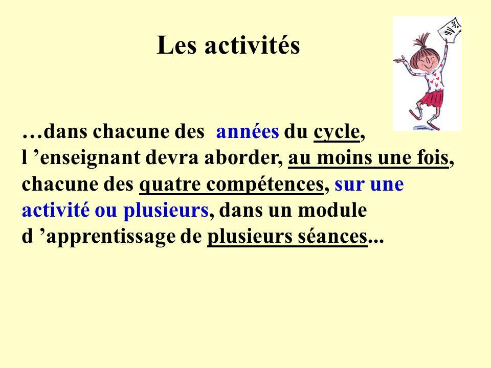 Les activités …dans chacune des années du cycle, l enseignant devra aborder, au moins une fois, chacune des quatre compétences, sur une activité ou plusieurs, dans un module d apprentissage de plusieurs séances...